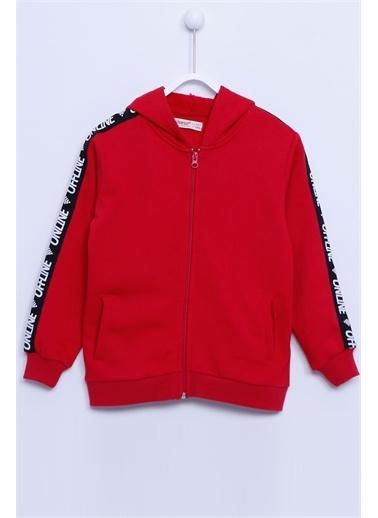 Silversun Kids Kapşonlu Sweat Shirt Örme Uzun Kollu Şeritli Cepli Kapşonlu Fermuarlı Sweatshirt Kız Çocuk Jm-312920 Kırmızı